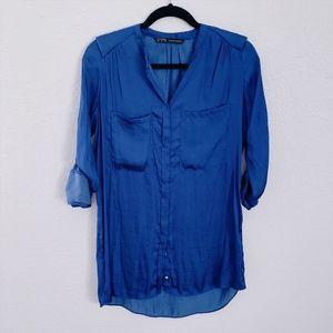 ZARA Silky Cobalt Blue Button Down Blouse